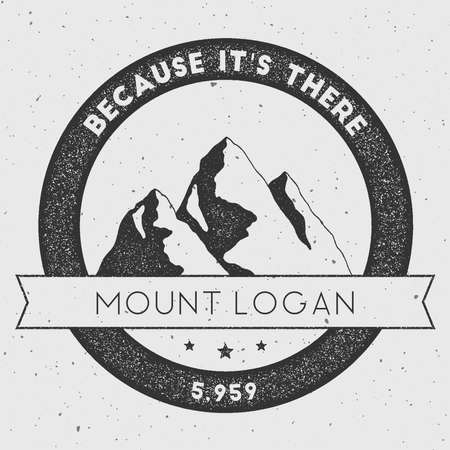 canada stamp: Logan in Saint Elias, Canada outdoor adventure logo. Round climbing vector insignia. Climbing, trekking, hiking, mountaineering and other extreme activities logo template.
