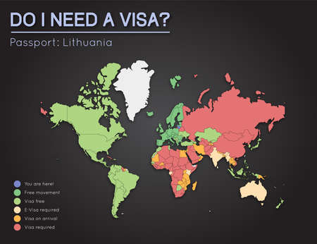 A Visas information for Republic of Lithuania passport holders. Year 2017. World map infographics showing visa requirements for all countries. Vector illustration.