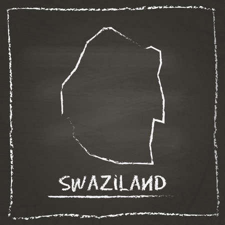 erased: Swaziland outline vector map hand drawn with chalk on a blackboard. Chalkboard scribble in childish style. White chalk texture on black background.