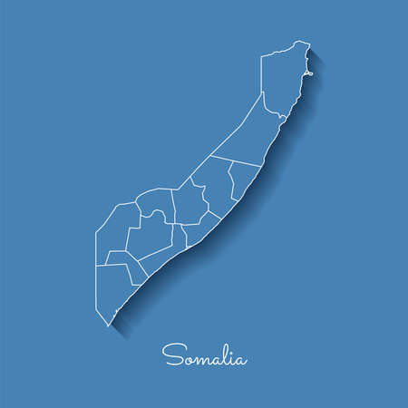 Somalia region map: blue with white outline and shadow on blue background. Detailed map of Somalia regions. Vector illustration.