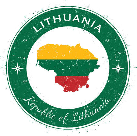 Lithuania circular patriotic badge. Grunge rubber stamp with national flag, map and the Lithuania written along circle border, vector illustration. Illustration