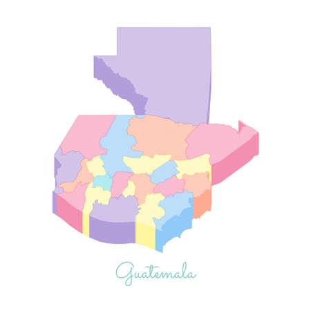 guatemalan: Guatemala region map: colorful isometric top view. Detailed map of Guatemala regions. Vector illustration.