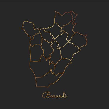 Burundi region map: golden gradient outline on dark background. Detailed map of Burundi regions. Vector illustration.
