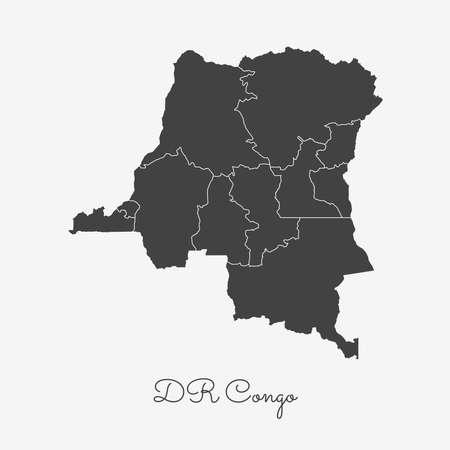 homeland: DR Congo region map: grey outline on white background. Detailed map of DR Congo regions. Vector illustration. Illustration