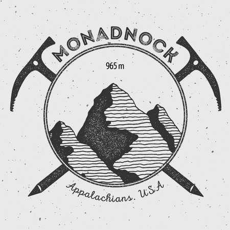 mountaineering: Monadnock in Appalachians, USA outdoor adventure logo. Climbing mountain vector insignia. Climbing, trekking, hiking, mountaineering and other extreme activities logo template. Illustration