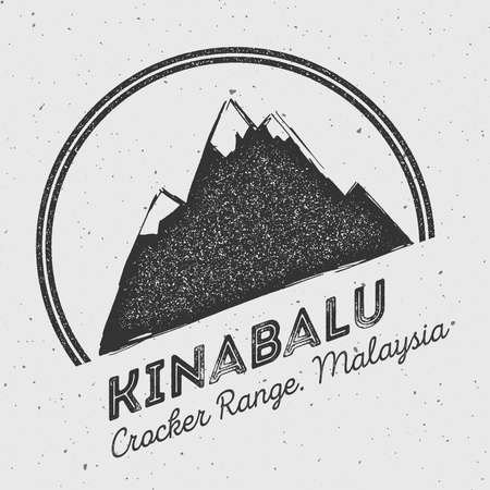 Kinabalu in Crocker Range, Malaysia outdoor adventure logo. Round mountain vector insignia. Climbing, trekking, hiking, mountaineering and other extreme activities logo template.