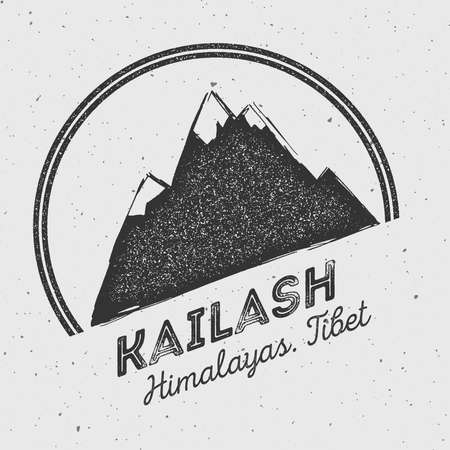 Kailash in Himalayas, Tibet outdoor adventure logo. Round mountain vector insignia. Climbing, trekking, hiking, mountaineering and other extreme activities logo template. Illustration