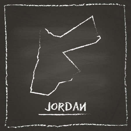 erasing: Jordan outline vector map hand drawn with chalk on a blackboard. Chalkboard scribble in childish style. White chalk texture on black background.