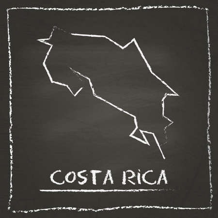 Costa Rica outline vector map hand drawn with chalk on a blackboard. Chalkboard scribble in childish style. White chalk texture on black background.