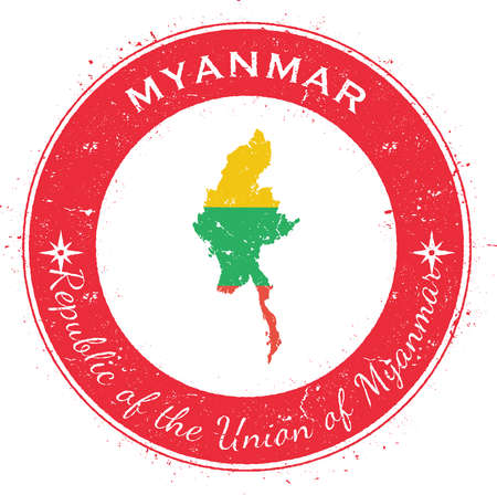 wanderlust: Myanmar circular patriotic badge. Grunge rubber stamp with national flag, map and the Myanmar written along circle border, vector illustration.