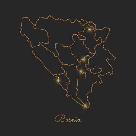 herz: Bosnia region map: golden glitter outline with sparkling stars on dark background. Detailed map of Bosnia regions. Vector illustration.