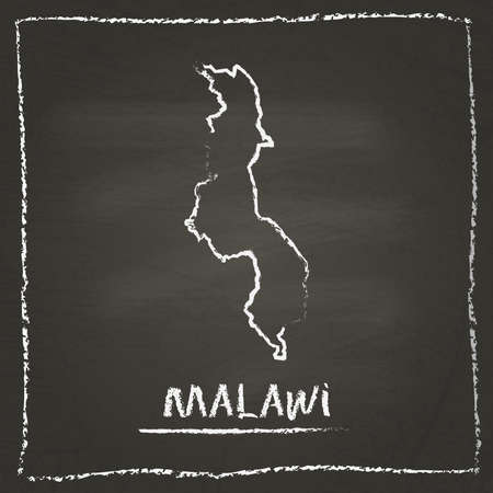 mal: Malawi outline vector map hand drawn with chalk on a blackboard. Chalkboard scribble in childish style. White chalk texture on black background. Illustration