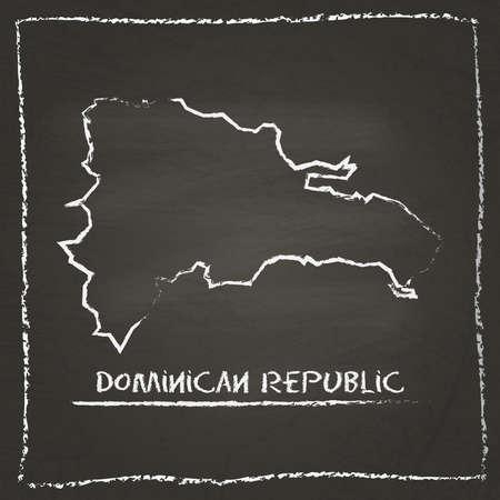 Dominikanische Republik Umriss Vektor Karte Hand auf einer Tafel mit Kreide gezeichnet. Tafel-Gekritzel im kindlichen Stil. Weiße Kreidebeschaffenheit auf schwarzem Hintergrund.