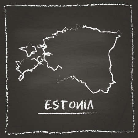 erasing: Estonia outline vector map hand drawn with chalk on a blackboard. Chalkboard scribble in childish style. White chalk texture on black background.