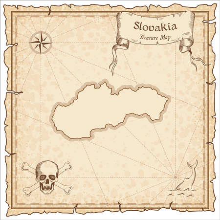 Slovakia old pirate map. Sepia engraved template of treasure map. Stylized pirate map on vintage paper.