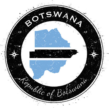 wanderlust: Botswana circular patriotic badge. Grunge rubber stamp with national flag, map and the Botswana written along circle border, vector illustration. Illustration