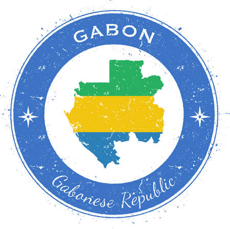 Gabon circular patriotic badge. Grunge rubber stamp with national flag, map and the Gabon written along circle border, vector illustration.