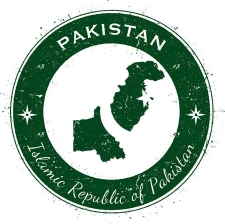 Pakistan circular patriotic badge. Grunge rubber stamp with national flag, map and the Pakistan written along circle border, vector illustration. Illustration