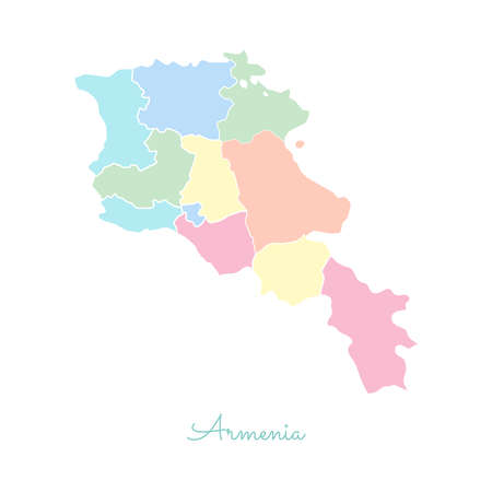 boundary: Armenia region map: colorful with white outline. Detailed map of Armenia regions. Vector illustration.