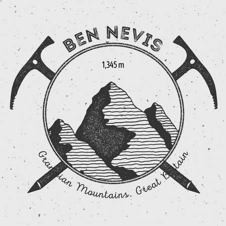 Ben Nevis in Grampian Mountains, Great Britain outdoor adventure logo. Climbing mountain vector insignia. Climbing, trekking, hiking, mountaineering and other extreme activities logo template. Illustration