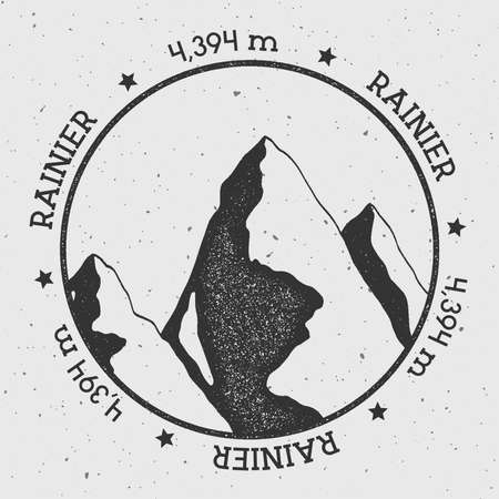 Rainier in Cascade Range, USA outdoor adventure logo. Round stamp vector insignia. Climbing, trekking, hiking, mountaineering and other extreme activities logo template. Illustration
