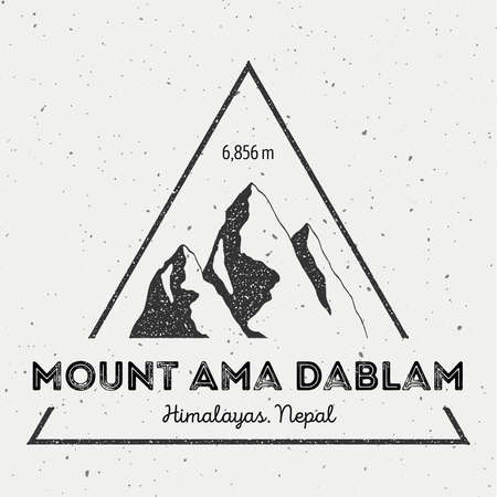 scrambling: Ama Dablam in Himalayas, Nepal outdoor adventure logo. Triangular mountain vector insignia. Climbing, trekking, hiking, mountaineering and other extreme activities logo template.