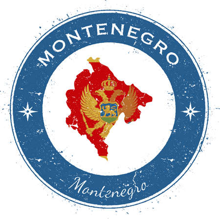 Montenegro circular patriotic badge. Grunge rubber stamp with national flag, map and the Montenegro written along circle border, vector illustration. Vettoriali