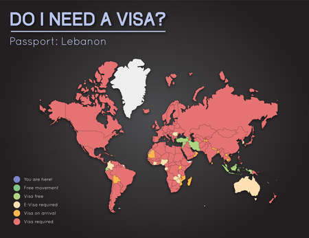lebanon: Visas information for Lebanese Republic passport holders. Year 2017. World map infographics showing visa requirements for all countries. Vector illustration. Illustration