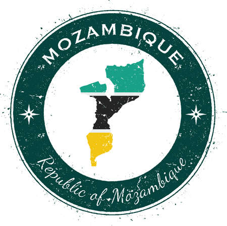 postmark: Mozambique circular patriotic badge. Grunge rubber stamp with national flag, map and the Mozambique written along circle border, vector illustration. Illustration
