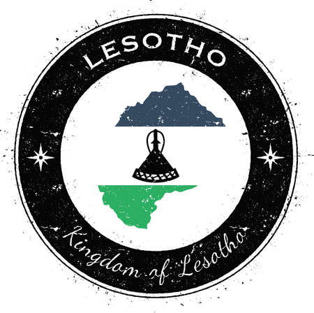 Lesotho circular patriotic badge. Grunge rubber stamp with national flag, map and the Lesotho written along circle border, vector illustration.