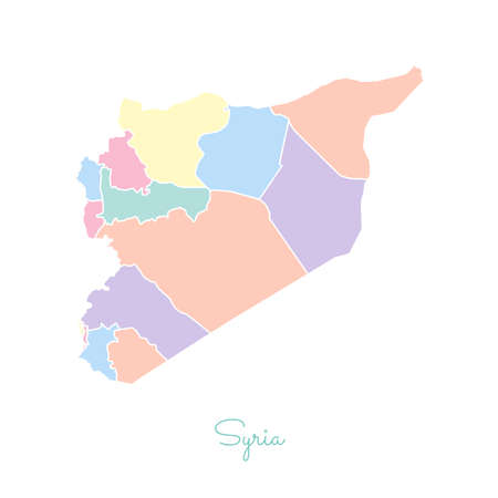 Syria region map: colorful with white outline. Detailed map of Syria regions. Vector illustration. Illustration