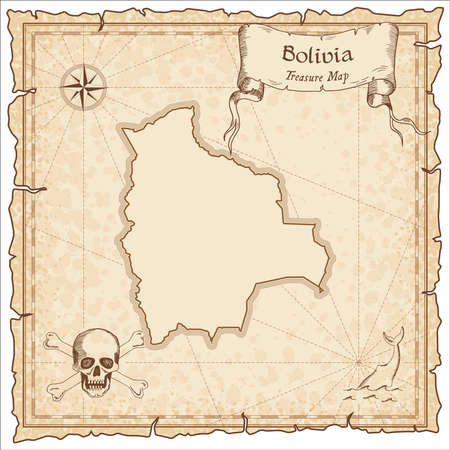 Bolivia old pirate map. Sepia engraved template of treasure map. Stylized pirate map on vintage paper.