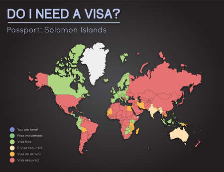 oceania: Visas information for Solomon Islands passport holders. Year 2017. World map infographics showing visa requirements for all countries. Vector illustration.