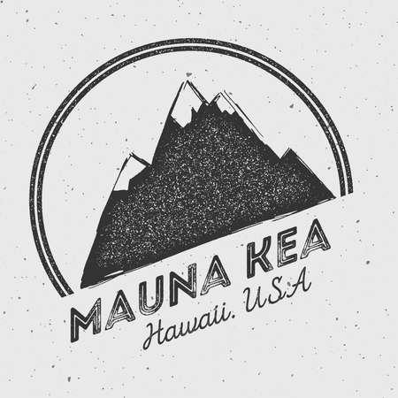 Mauna Kea in Hawaii, USA outdoor adventure logo. Round mountain vector insignia. Climbing, trekking, hiking, mountaineering and other extreme activities logo template. Illustration