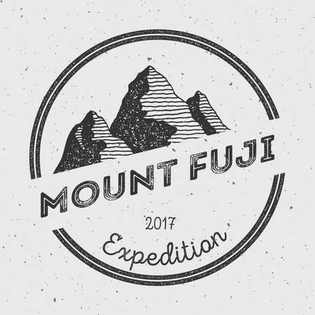 ascent: Fuji in Honshu, Japan outdoor adventure logo. Round expedition vector insignia. Climbing, trekking, hiking, mountaineering and other extreme activities logo template.