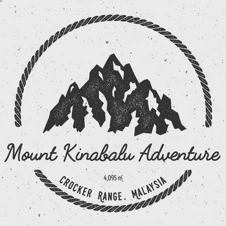 Kinabalu in Crocker Range, Malaysia outdoor adventure logo. Round hiking vector insignia. Climbing, trekking, hiking, mountaineering and other extreme activities logo template.