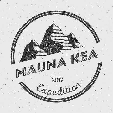 Mauna Kea in Hawaii, USA outdoor adventure logo. Round expedition vector insignia. Climbing, trekking, hiking, mountaineering and other extreme activities logo template.