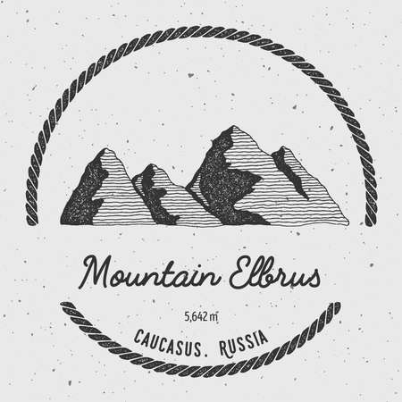 wanderlust: Elbrus in Caucasus, Russia outdoor adventure logo. Round trekking vector insignia. Climbing, trekking, hiking, mountaineering and other extreme activities logo template. Illustration