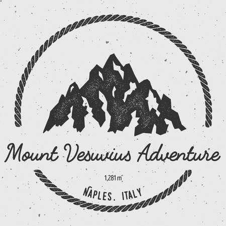 ベスビオ ナポリ、イタリアの屋外の冒険のロゴ。ラウンド ベクトル記章をハイキングします。登山、トレッキング、ハイキング、登山、そして他の