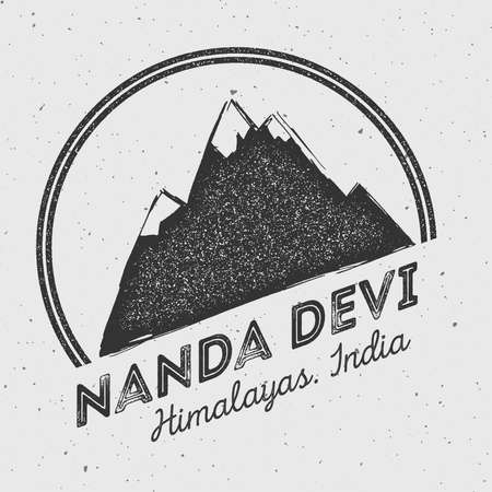Nanda Devi in Himalayas, India outdoor adventure logo. Round mountain vector insignia. Climbing, trekking, hiking, mountaineering and other extreme activities logo template.