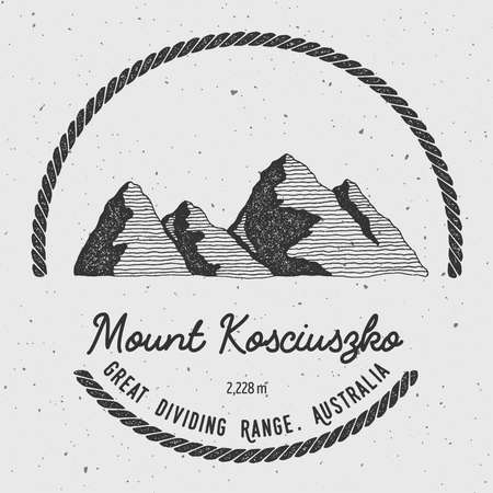 mountaineering: Kosciuszko in Great Dividing Range, Australia outdoor adventure logo. Round trekking vector insignia. Climbing, trekking, hiking, mountaineering and other extreme activities logo template.