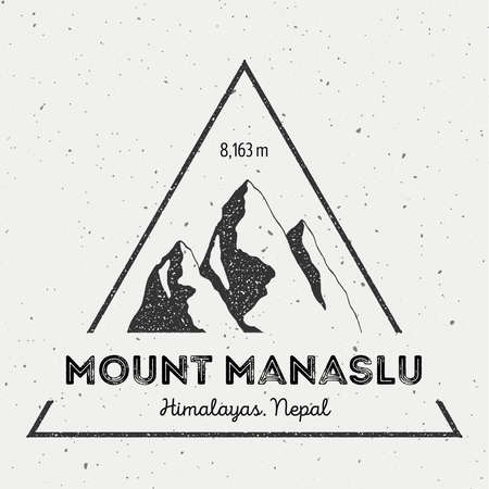 scrambling: Manaslu in Himalayas, Nepal outdoor adventure logo. Triangular mountain vector insignia. Climbing, trekking, hiking, mountaineering and other extreme activities logo template. Illustration