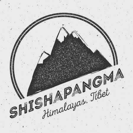 mountaineering: Shishapangma in Himalayas, Tibet outdoor adventure logo. Round mountain vector insignia. Climbing, trekking, hiking, mountaineering and other extreme activities logo template. Illustration