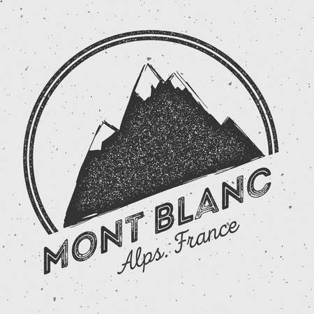 Mont Blanc in Alps, Italy outdoor adventure logo. Round mountain vector insignia. Climbing, trekking, hiking, mountaineering and other extreme activities logo template. Illustration
