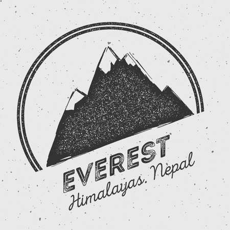 Everest in Himalayas, China outdoor adventure logo. Round mountain vector insignia. Climbing, trekking, hiking, mountaineering and other extreme activities logo template. Illustration