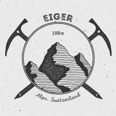 Eiger in Alps, Switzerland outdoor adventure logo. Climbing mountain vector insignia. Climbing, trekking, hiking, mountaineering and other extreme activities logo template. Illustration