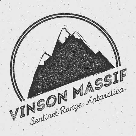 wanderlust: Vinson Massif in Sentinel Range, Antarctica outdoor adventure logo. Round mountain vector insignia. Climbing, trekking, hiking, mountaineering and other extreme activities logo template.