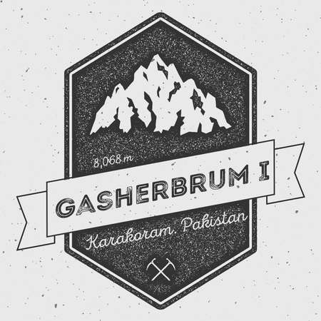 ascent: Gasherbrum I in Karakoram, Pakistan outdoor adventure logo. Pennant expedition vector insignia. Climbing, trekking, hiking, mountaineering and other extreme activities logo template.