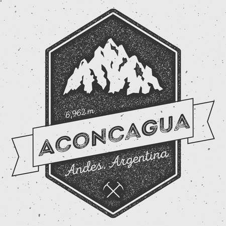 ridge: Aconcagua in Andes, Argentina outdoor adventure logo. Pennant expedition vector insignia. Climbing, trekking, hiking, mountaineering and other extreme activities logo template.