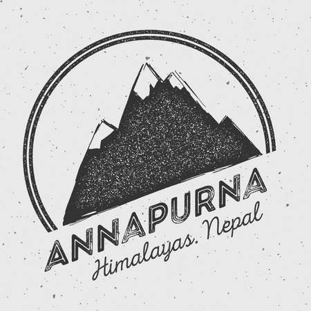 Annapurna in Himalayas, Nepal outdoor adventure logo. Round mountain vector insignia. Climbing, trekking, hiking, mountaineering and other extreme activities logo template. Illustration